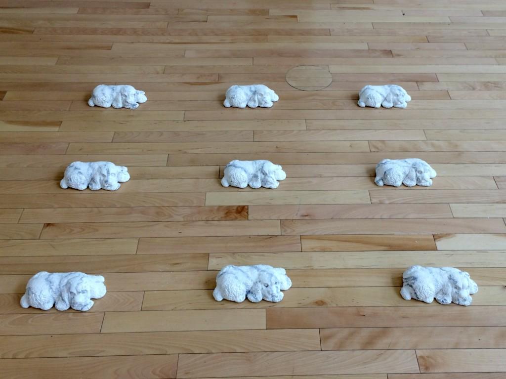 whitebox dog sculpture