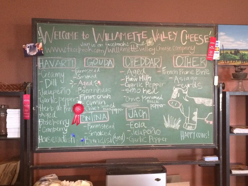 Willamette cheese menu