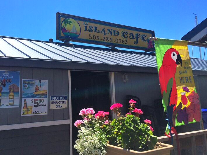 Island cafe sign