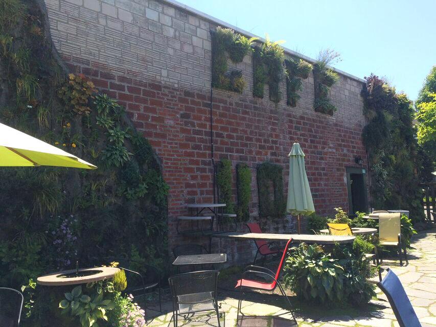 Singer cafe garden wall