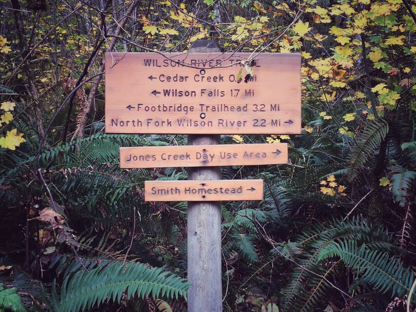 Wilson River trail sign