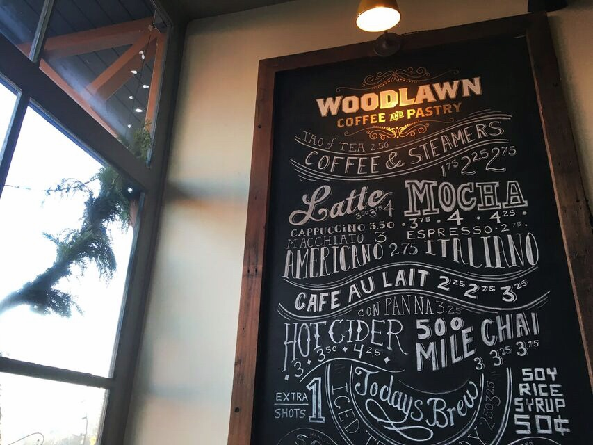Woodlawn Coffee menu
