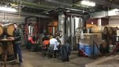 Upright brewing tanks and tables