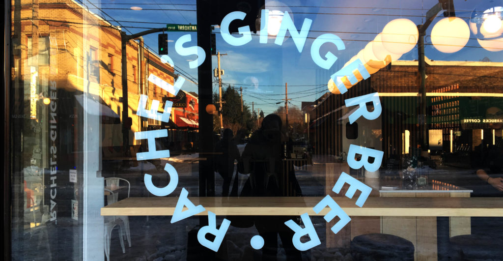 Rachel's Ginger Beer Window sign