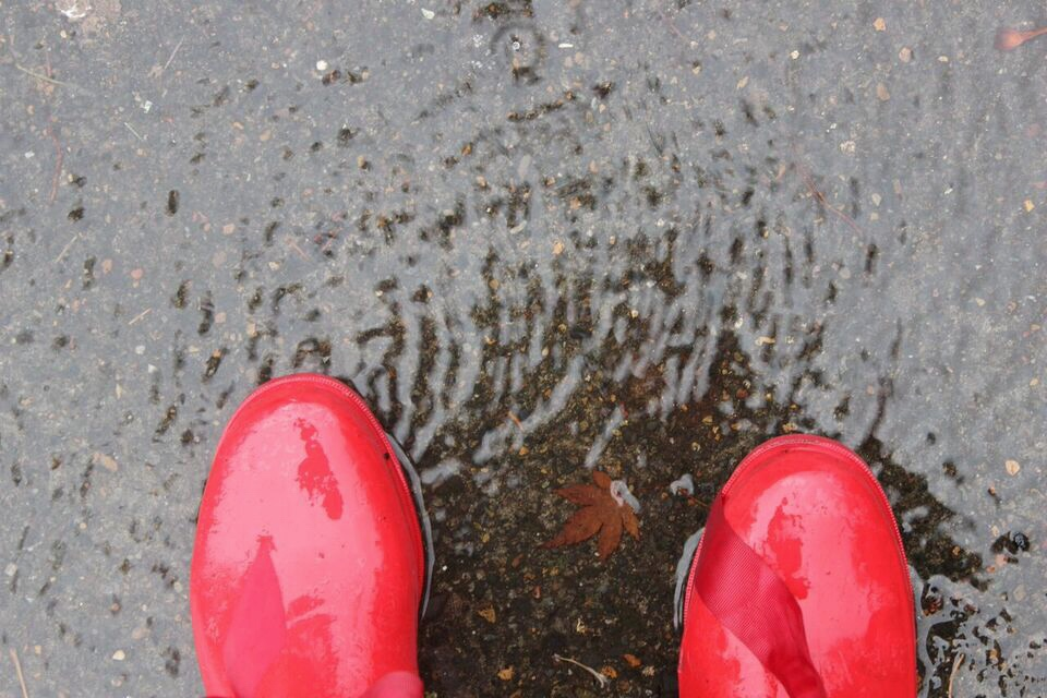 Rain red boots